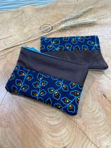 "Coin Purse | Dark Blue Flowers | Leather | 3""x 5"" | Handmade in Kenya"