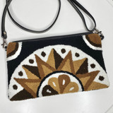 Wayuu Clutch/Small Bag | Black with Brown and White Pattern | Handmade in Colombia