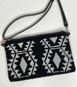 Wayuu Clutch/Small Bag | Black with Grey Pattern | Handmade in Colombia