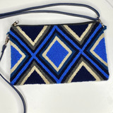 Wayuu Clutch/Small Bag   Blue with Cream Pattern   Handmade in Colombia