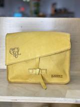 Genuine Leather Satchel/Messenger Bag - Small   Textured Yellow   Unisex   Handmade in Kenya