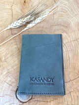 Genuine Leather Cardholder | Light Grey | Unisex | Handmade in Kenya