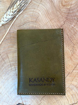 Genuine Leather Cardholder | Deep Olive Green | Unisex | Handmade in Kenya