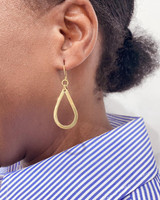 Hand-Hammered Earrings | Tear Drop Dangle | Small | Gold Brass | Hand Hammered in Kenya