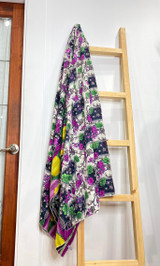 Kantha Quilt | Queen | Purple/Green Floral | Recycled Saris | Handmade in Bangladesh