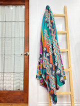 Kantha Quilt | Queen | Blue/Orange Waves | Recycled Saris | Handmade in Bangladesh