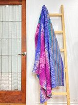 Kantha Quilt | Queen | Purple Paisley | Recycled Saris | Handmade in Bangladesh