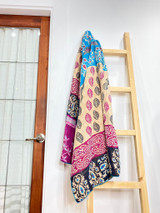 Kantha Quilt | Queen | Purple/Blue Leaves | Recycled Saris | Handmade in Bangladesh