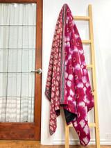 Kantha Quilt | King | Magenta Tie-Dye  | Recycled Saris | Handmade in Bangladesh