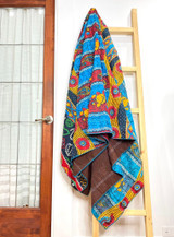 Kantha Quilt | Queen | Blue/Red/Yellow Boho Design | Recycled Saris | Handmade in Bangladesh