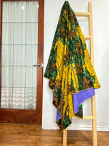 Kantha Quilt | Queen | Yellow with Green/Brown Floral | Recycled Saris | Handmade in Bangladesh