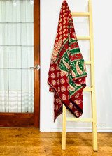 Kantha Quilt | Queen | Red with Paisley | Recycled Saris | Handmade in Bangladesh