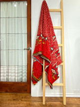 Kantha Quilt | Queen | Red with Boho Diamond Pattern | Recycled Saris | Handmade in Bangladesh