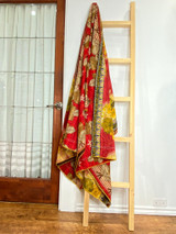 Kantha Quilt | Queen | Red with Brown Leaves | Recycled Saris | Handmade in Bangladesh