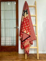 Kantha Quilt | King | Red/Cream Boho | Recycled Saris | Handmade in Bangladesh