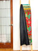 Kantha Quilt | King | Red/Green Floral | Recycled Saris | Handmade in Bangladesh