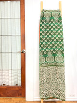 Kantha Quilt | King | Green with Cream Flowers | Recycled Saris | Handmade in Bangladesh