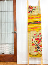 Kantha Quilt | King | Yellow with Red Floral | Recycled Saris | Handmade in Bangladesh