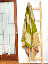 Kantha Quilt | King | Cream/Green Paisley | Recycled Saris | Handmade in Bangladesh