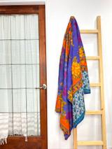 Kantha Quilt | King | Purple/Orange Floral | Recycled Saris | Handmade in Bangladesh