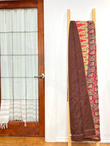 Kantha Quilt | King | Red with Brown Flowers | Recycled Saris | Handmade in Bangladesh