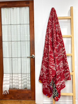 Kantha Quilt | King | Red with Cream Branches | Recycled Saris | Handmade in Bangladesh