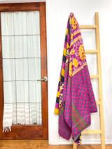 Kantha Quilt | King | Pink Scallops & Yellow Floral | Recycled Saris | Handmade in Bangladesh