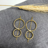 Hand-Hammered Earrings | Double Circle Drop (Square Wire) | Gold Brass | Hand Hammered in Kenya