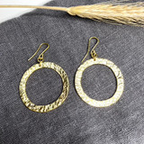 Hand-Hammered Earrings | Ragged Circle - Large | Gold Brass | Hand Hammered in Kenya