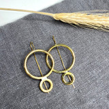 Hand-Hammered Earrings | Double Circle Drop (Round Wire) | Gold Brass | Hand Hammered in Kenya