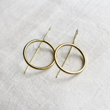 Hand-Hammered Earrings | Wire Circle Drop | Gold Brass | Hand Hammered in Kenya