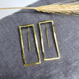 Hand-Hammered Earrings | Wire Rectangle | Gold Brass | Hand Hammered in Kenya