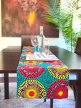 Table Runner | African Kitenge - Multi-colour Circles | Handmade in Kenya