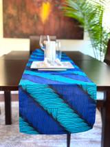 Table Runner | African Kitenge - Blue Roping | Handmade in Kenya