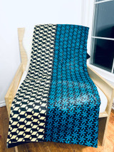 Throw Blanket - Fleece | African Kitenge - Teal/Cream Geometric | Handmade in Kenya