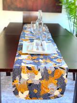 Table Runner | African Kitenge - Gold/Cream/Grey Floral | Handmade in Kenya