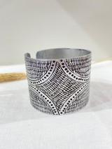 Cuff Metal Bracelet   Dark Triangle Silver   Handmade In Kenya
