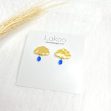 Cloud-1   Dark Blue   18K Gold Plated Brass - Silver   Handmade in Vancouver