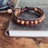 Gemstone Single Wrap Men's Bracelet | Cyoress Wood | Handmade in Victoria