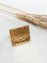 Hand-Hammered Ring | Square - Beveled | Gold Brass | Hand Hammered in Kenya