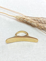 Hand-Hammered Ring | Horn - Flat Curve | Gold Brass | Hand Hammered in Kenya