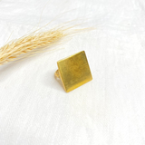 Hand-Hammered Ring | Square - Smooth | Gold Brass | Hand Hammered in Kenya