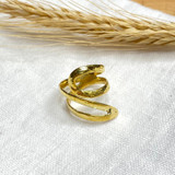 Hand-Hammered Ring | Wire Spiral - Beveled | Gold Brass | Hand Hammered in Kenya