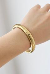 Hand-Hammered Bracelet   Round Bangle - Beveled - Edge   Gold Brass   Hand Hammered in Kenya