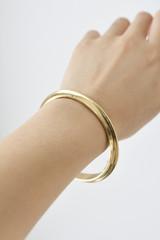 Hand-Hammered Bracelet   Round Bangle - Edge   Gold Brass   Hand Hammered in Kenya