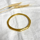 Hand-Hammered Bracelet | Round Bangle - Beveled - Octagon | Gold Brass | Hand Hammered in Kenya