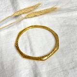 Hand-Hammered Bracelet | Round Bangle - Beveled - Flat | Gold Brass | Hand Hammered in Kenya