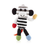 Monkey Rattle | Black/White | Pebble Canada | Handmade in Bangladesh