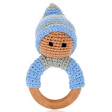 Wooden Teething Ring | Rattle - Pixie Blue | Pebble Canada | Handmade  in Bangladesh