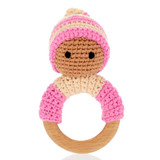 Wooden Teething Ring | Rattle - Pixie Pink | Pebble Canada | Handmade in Bangladesh